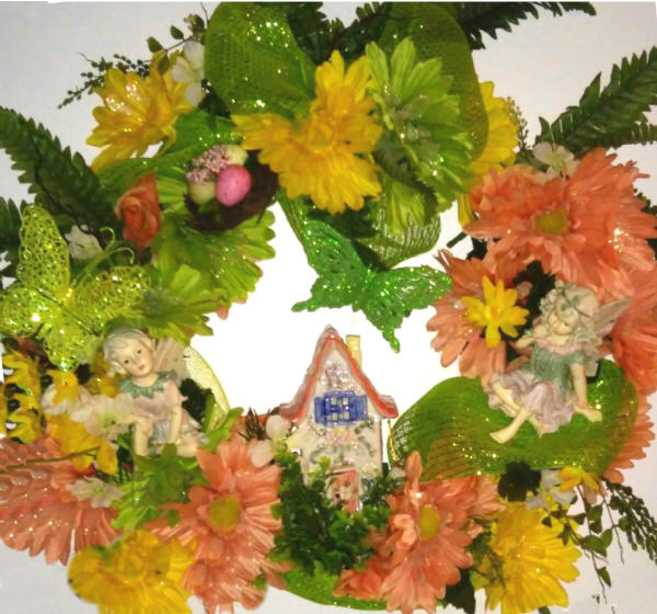 DECORATED Royal Springtime Wreath with the Fairies